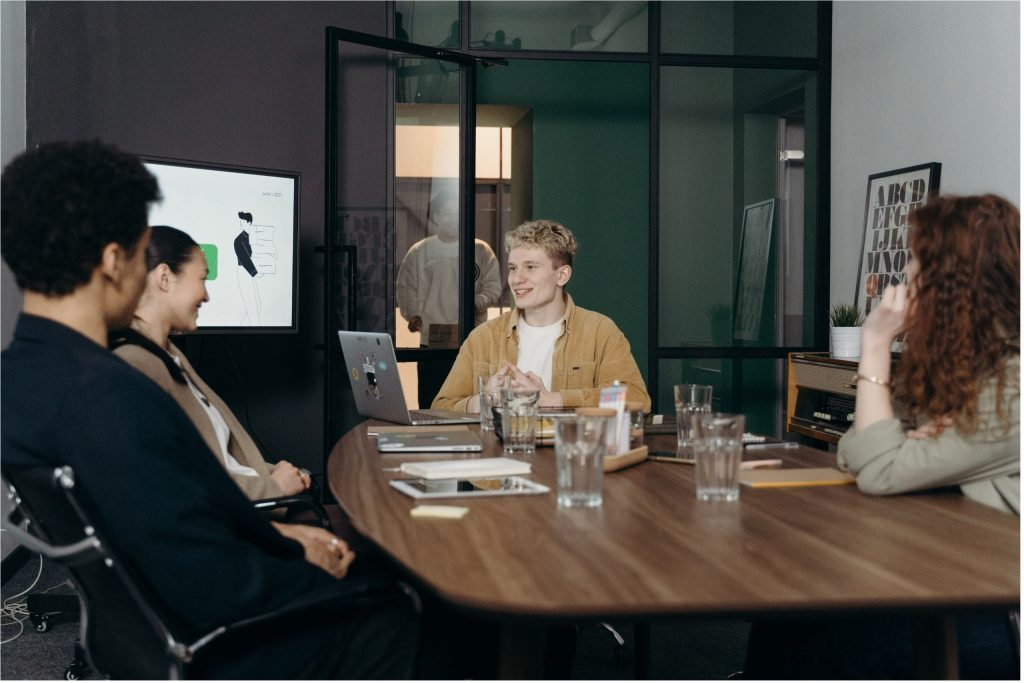 project management professional in a meeting